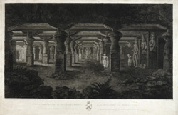 'The Temple of Elephanta.' Line engraving by James Phillips after painting by James Wales, based on an original drawing by James Forbes. Published London, 1790